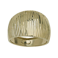 Made in Italy 14K Yellow Gold Wide Ribbed Dome Ring