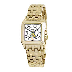 Disney Perfect Square Tinker Bell Womens Gold-Tone Watch