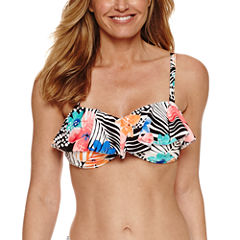 Pure Paradise Bra Sized Floral Flounce Swimsuit Top