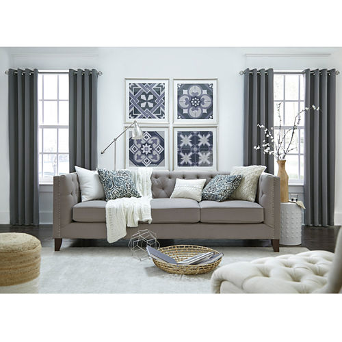 JCPenney Home Made-To-Length Matte Satin Grommet-Top Poly-Cotton Lined Curtain Panel