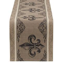 Design Imports Fleur De Lis Stripe Jacquard Table Runner