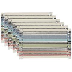Design Imports Mediterranean Stripe Fringed Set of 6 Placemats