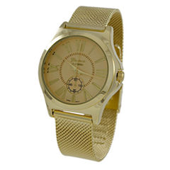 Geneva Platinum Womens Gold Tone Strap Watch-9477