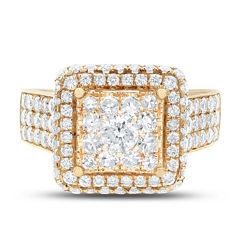 Limited Quantites Womens 2 CT. T.W. Genuine White Diamond 14K Gold Cocktail Ring