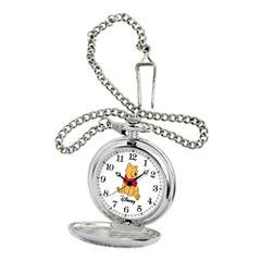 Disney Mens Winnie the Pooh Silver-Tone Pocket Watch