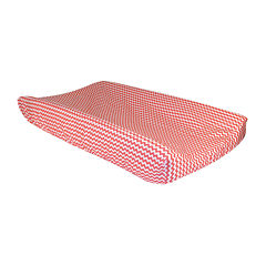 Trend Lab® Coral Pink and White Changing Pad Cover