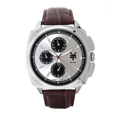 Zoo York® Mens Brown And Silvertone Leather Strap Watch