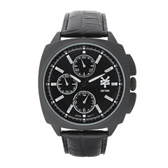 Zoo York® Mens Matte Black Leather Strap Watch