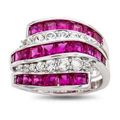 Womens Red Lab Created Ruby Sterling Silver Cocktail Ring