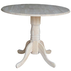 Unfinished Dual Drop Leaf Round Wood Top Dining Table
