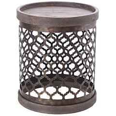 Madison Park Ingot Quaterfoil Metal Drum Table End Table