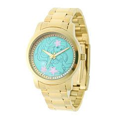 Disney Ariel Womens Gold-Tone Stainless Steel Bracelet Watch