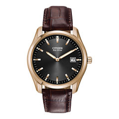 Citizen® Eco-Drive® Mens Brown Leather Watch AU1043-00E