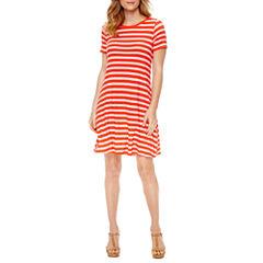 St. John's Bay Short Sleeve Stripe Shift Dress