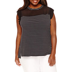 Worthington® Short Sleeve Sheer Yoke Tee - Plus
