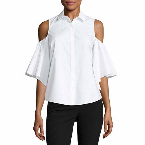 Worthington Cold Shoulder Button Front Shirt-Talls