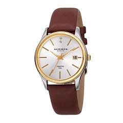Akribos XXIV Womens Two-Tone Brown Leather Strap Watch
