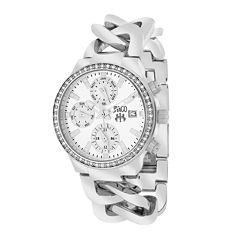 Jivago Womens Levley Silver Dial Stainless Steel Bracelet Watch