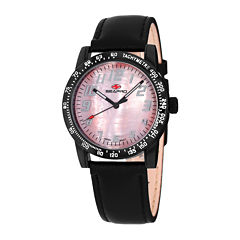 Seapro Bold Womens Pink Mother-of-Pearl Dial and Black Leather Strap Watch