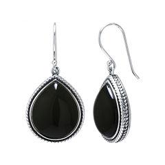 Genuine Black Onyx Sterling Silver Drop Earrings