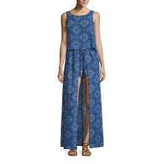City Triangle Sleeveless Medallion Maxi Dress-Juniors