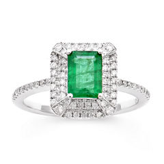 Womens 1/3 CT. T.W. Genuine Emerald 14K Gold Cocktail Ring