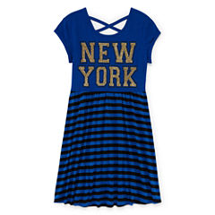 Total Girl® Short-Sleeve Stripe Cross-Back Skater Dress - Girls 7-16 and Plus