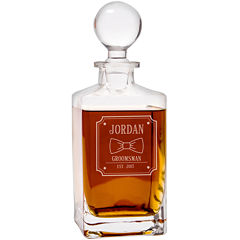 Cathy's Concepts Personalized Bow Tie 32 oz. Square Whiskey Decanter