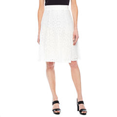 Sag Harbor Pleats And Lace A-Line Skirt