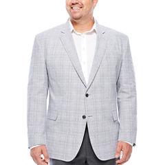 Stafford Linen Cotton Quiet Charcoal Plaid Sport Coat- Big and Tall