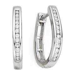 1/4 CT. T.W. Diamond Sterling Silver Hoop Earrings