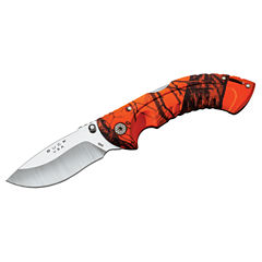 Buck Knives Omni Hunter Folding 10Pt 3In Plain Blade Drop Point Mossy Oak Blaze Handle Folding Knive