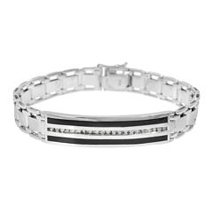 Mens 1/2 CT. T.W. Diamond & Onyx 10K White Gold Link Bracelet