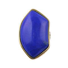 Art Smith by BARSE Genuine Dark Blue Howlite & Yellow Brass Ring