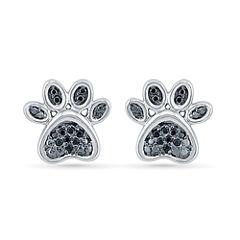 1/8 CT. T.W. Round Black Diamond Sterling Silver Stud Earrings