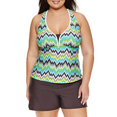Zeroxposur Chevron Tankini Swimsuit Top-Plus