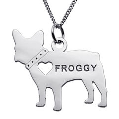 Personalized French Bulldog Sterling Silver Pendant Necklace