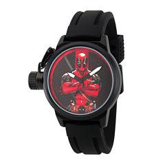 Marvel® Mens Deadpool Black Dial Black Rubber Strap Watch
