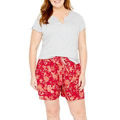 Liz Claiborne Shorts Pajama Set-Plus