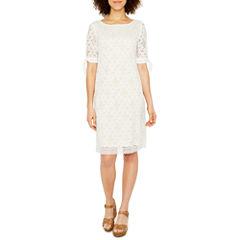 Ronni Nicole Short Sleeve Lace Pattern Shift Dress