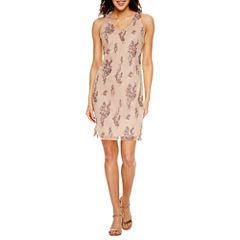 Scarlett Sleeveless Embroidered Pattern Sheath Dress