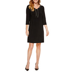 Black Label by Evan-Picone 3/4 Sleeve Shift Dress