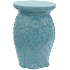 Oriental Furniture Carved Owl Porcelain Patio Garden Stool