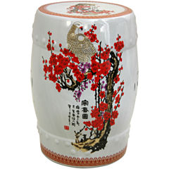 Oriental Furniture Cherry Blossom Porcelain PatioGarden Stool