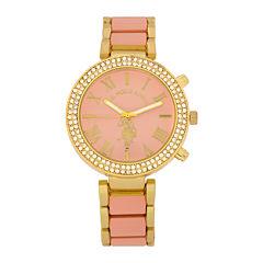 U.S. Polo Assn.® Womens Pink & Gold-Tone Stone Bezel Bracelet Watch
