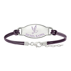 Sigma Kappa Enameled Sterling Silver Oval Leather Bracelet