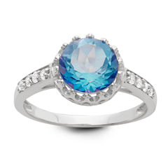 Genuine Mystic Blue Topaz Sterling Silver Ring