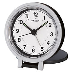 Seiko® Black Metallic Travel Alarm With Folding Stand Clock Qht011klh