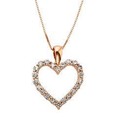 14K Rose Gold .50 Carat Diamond Igl Certified Heart Pendant with Chain