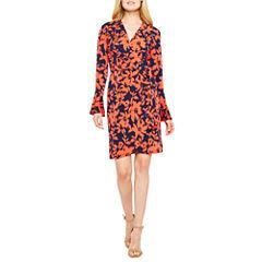 London Style Long Sleeve Pattern Wrap Dress